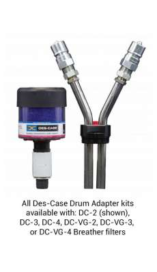 Drum Adapter ISO A BSPP, 1inch Drain, 3/4inch Fill, Std Minimess Smpl Valve, DC-2 Breather, Black